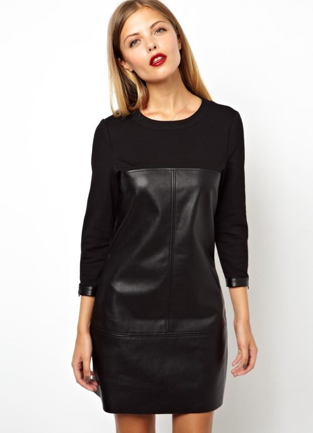 платье из кожи черное