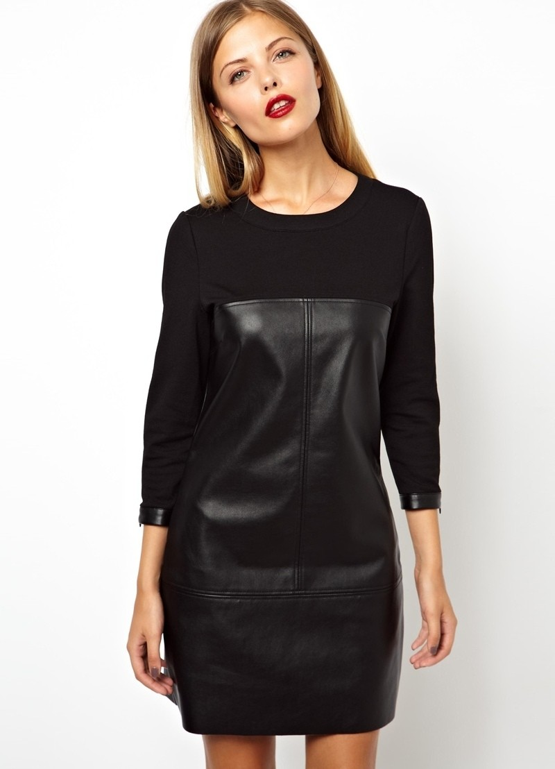 тренды осень зима 2019: платье из кожи черное
