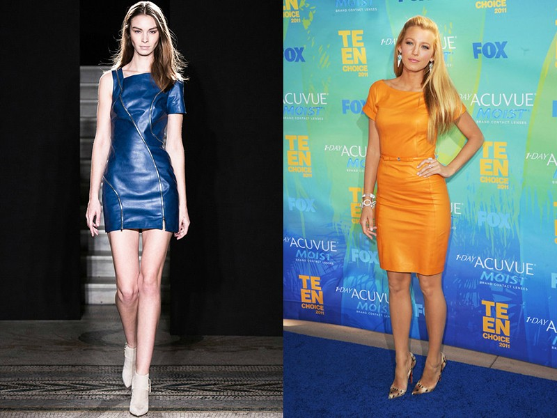 тренды осень зима 2019: синее платье из кожи короткое желтое кожаное платье длина миди