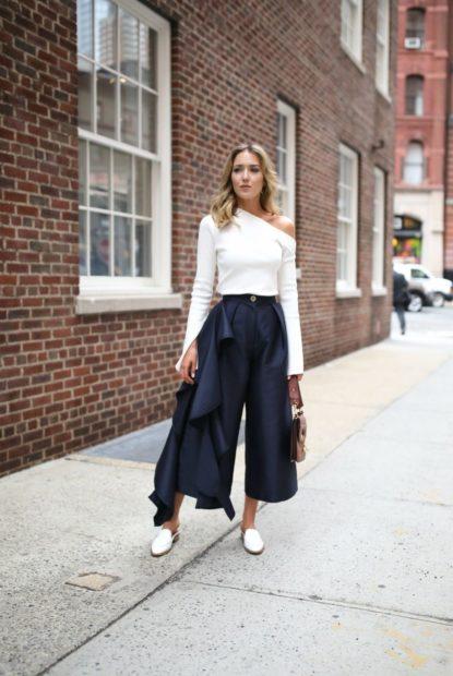 укороченные брюки с чем носить кюлоты под кофту белую туфли на низком ходу