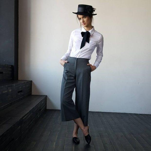 укороченные брюки с чем носить кюлоты под шляпку и рубашку