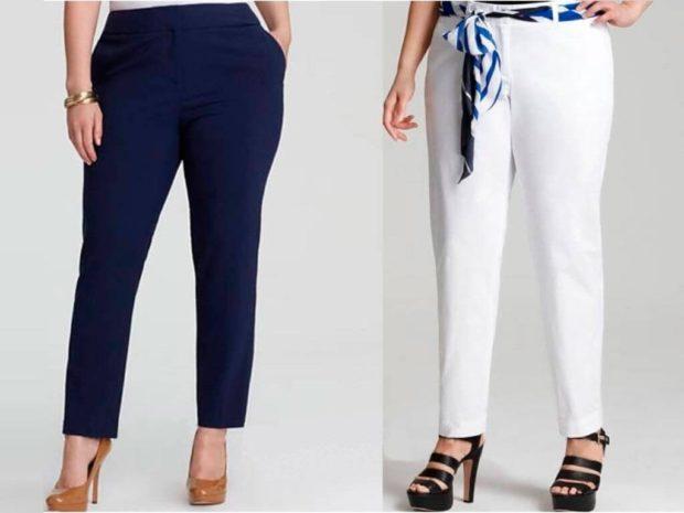 укороченные брюки с чем носить с поясом под каблук