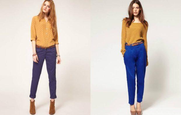 укороченные брюки с чем носить чиносы сини под желтую блузку