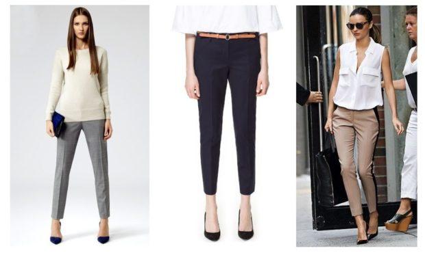 укороченные брюки с чем носить дудочки под блузку под кофту