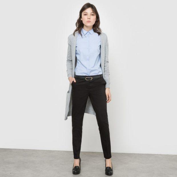 укороченные брюки с чем носить дудочки черные под рубашку и кардиган