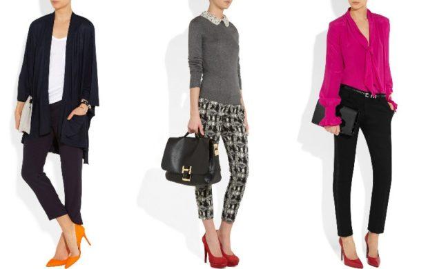 укороченные брюки с чем носить дудочки под кардиган блузку кофту