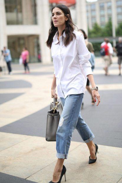 укороченные брюки с чем носить джинсы коротки под рубашку на выпуск
