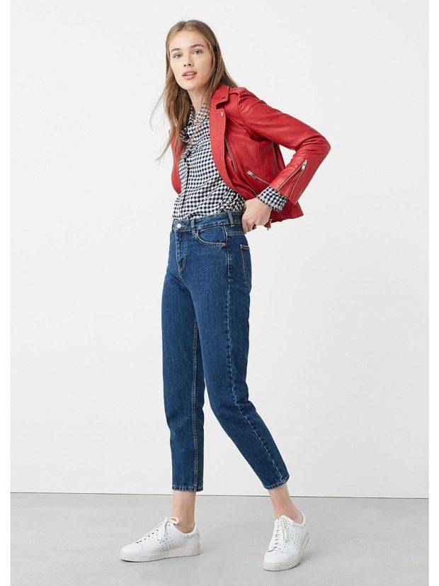 джинсы короткие под рубашку и кофту