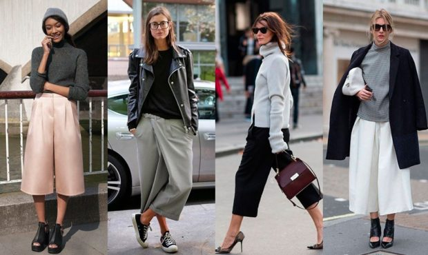 укоренные брюки с чем носить кюлоты под куртку пальто