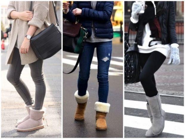 женская обувь осень-зима 2018-2019: угги серые коричневые