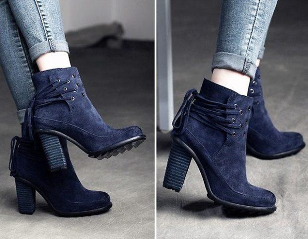 обувь женская зима 2018-2019: полусапожки толстый каблук короткие