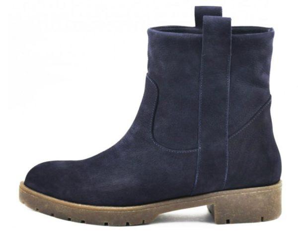 обувь женская зима 2018-2019: полусапожки синие замша