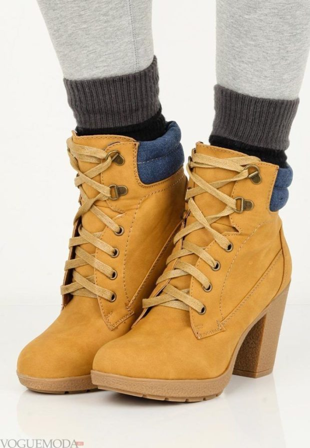 обувь женская зима 2018-2019: на каблуке со шнуровкой