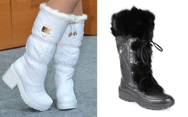 обувь женская зима 2018-2019: дутики на каблуке на танкетке
