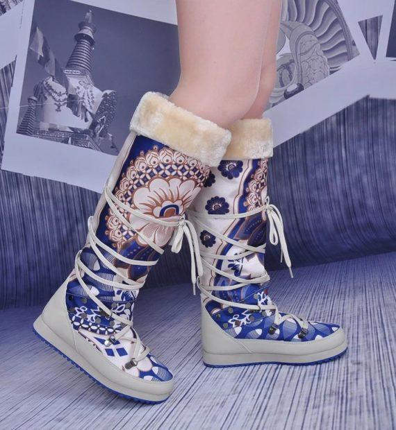 обувь женская зима 2018-2019: дутики высокие с орнаментом