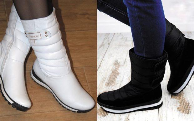 обувь женская зима 2018-2019: дутики черные и белые