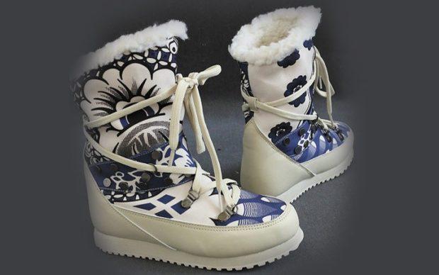 зимняя женская обувь 2018 дутики короткие с рисунком