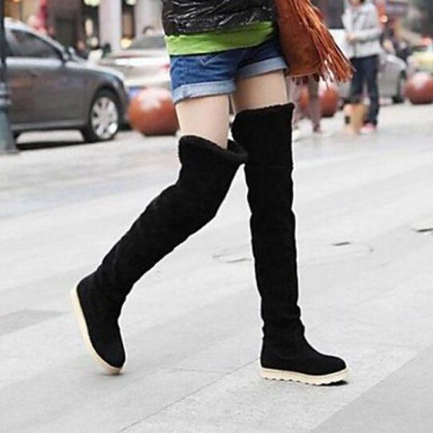 зимняя женская обувь 2018 на плоской подошве высокие