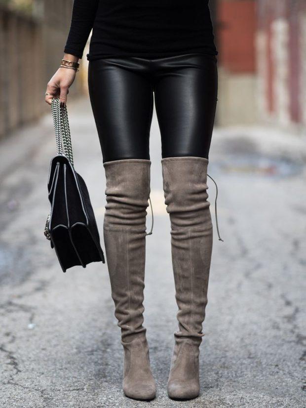 женская обувь осень-зима 2018-2019: ботфорты серые