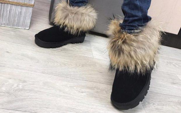 женская обувь осень-зима 2018-2019: угги кроткие с мехом
