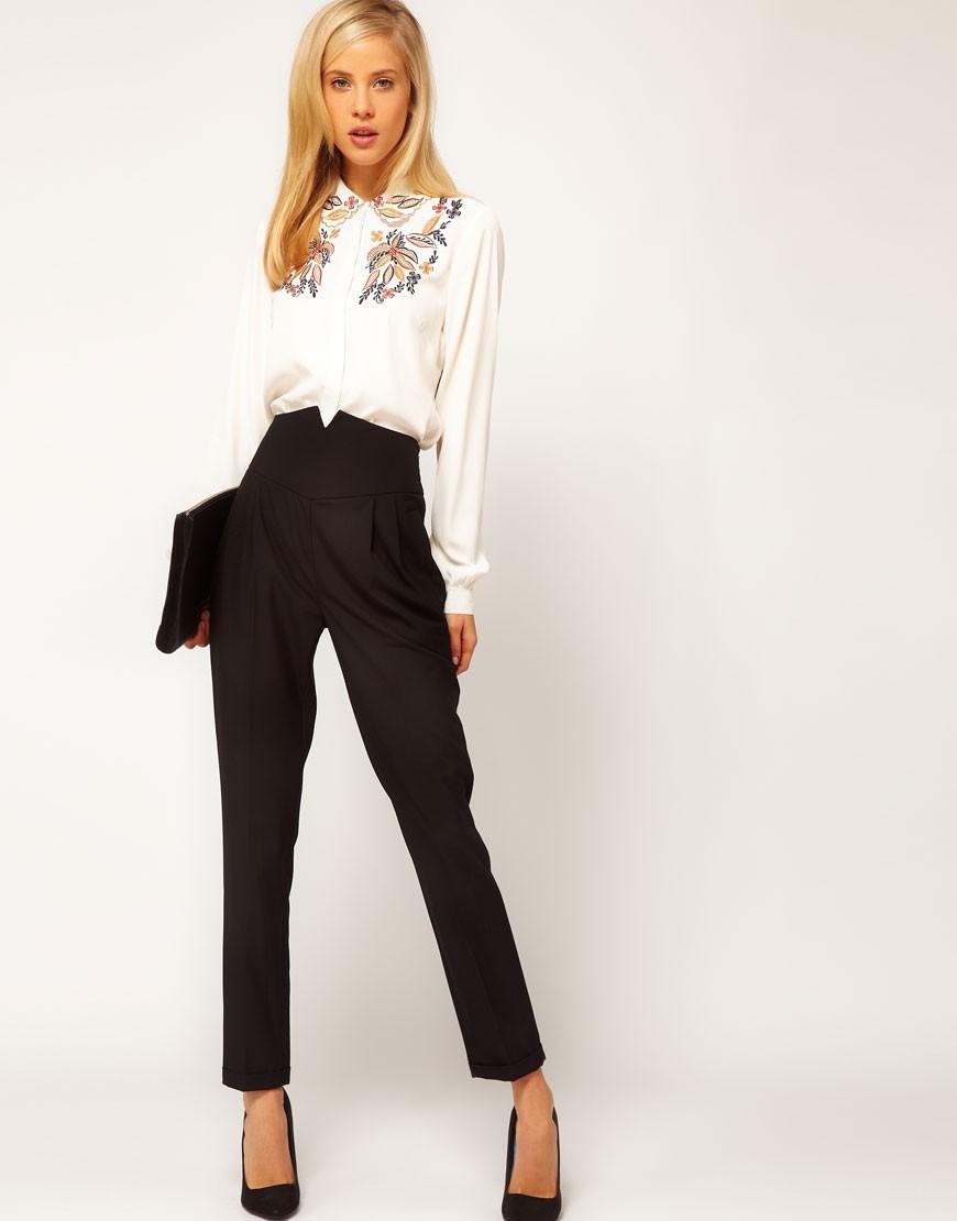 базовый гардероб 2018 2019: высокая талия брюки черные