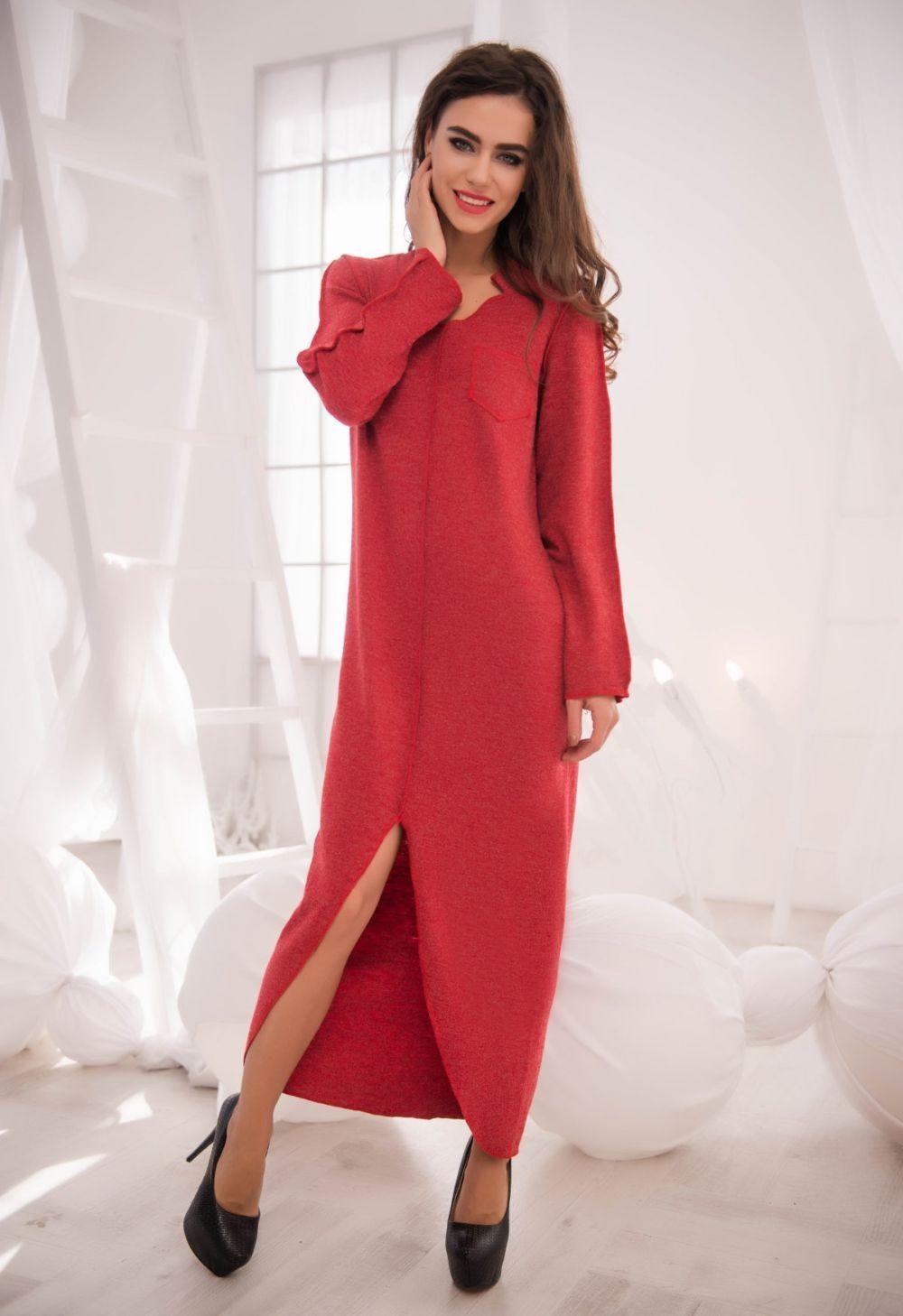 базовый гардероб 2018 2019: платье прямо крой красное длинное