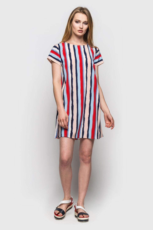 базовый гардероб 2018 2019: платье а силуэт короткое в полоску