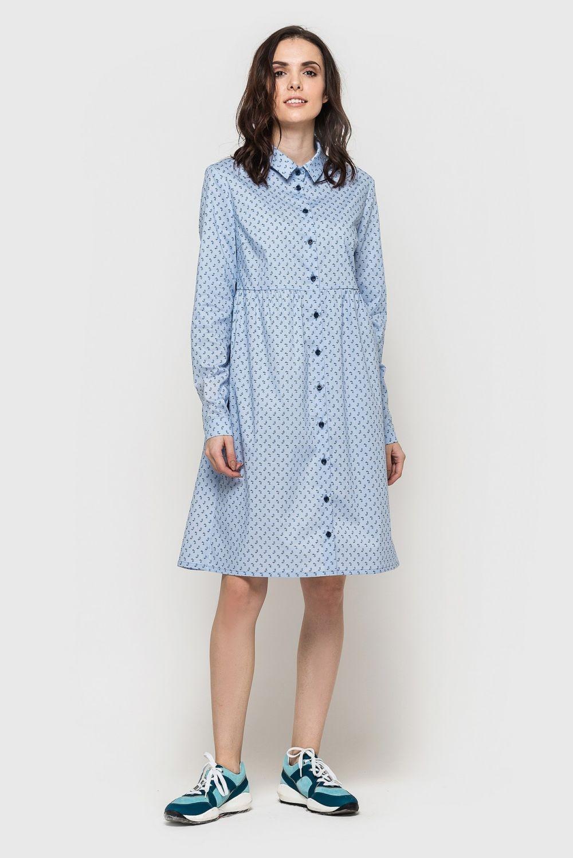 базовый гардероб 2018 2019: платье рубашка голубое длинный рукав