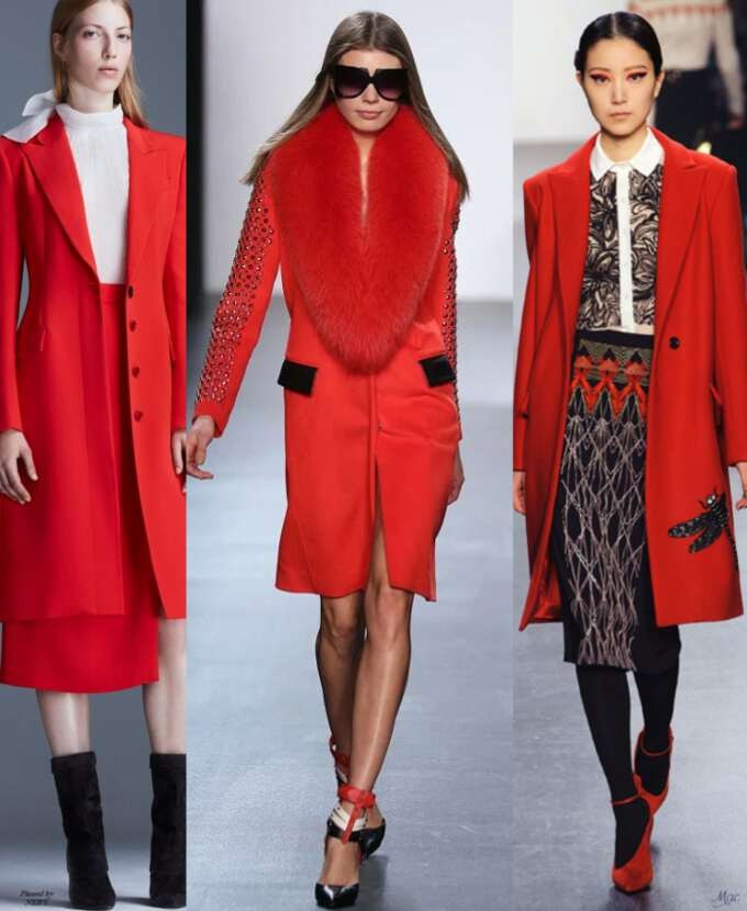 базовый гардероб 2018 2019: пальто красное классика с мехом оверсайз