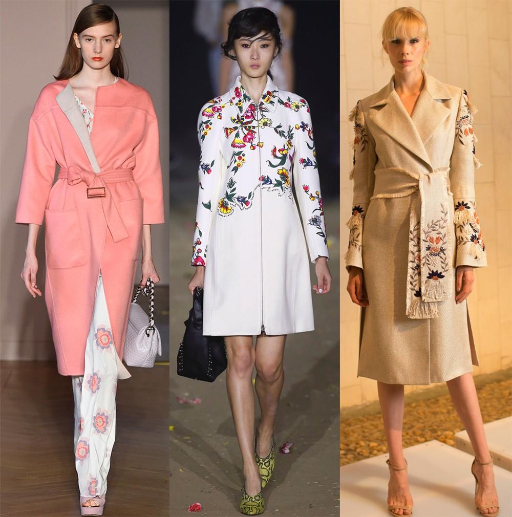 базовый гардероб 2018 2019: пальто розовое белое в бабочки бежевое с вышивкой