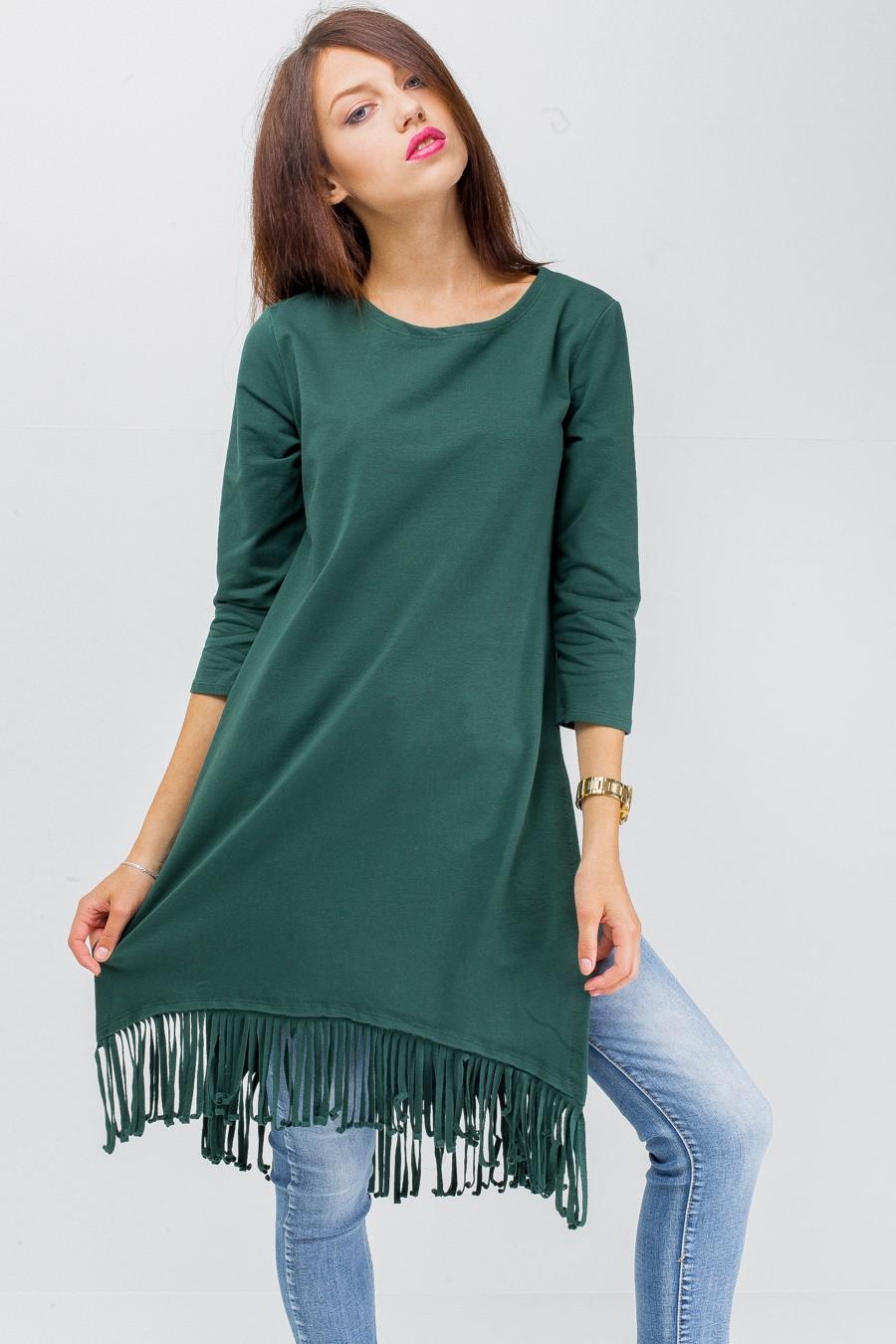 базовый гардероб 2018 2019: туника зеленая бахрома