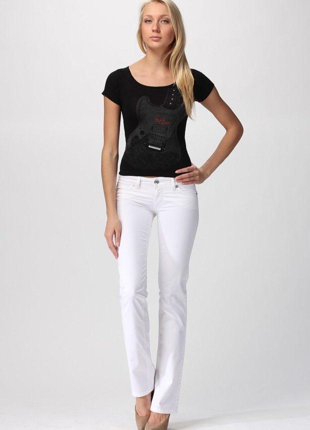 белые брюки с чем носить: прямые