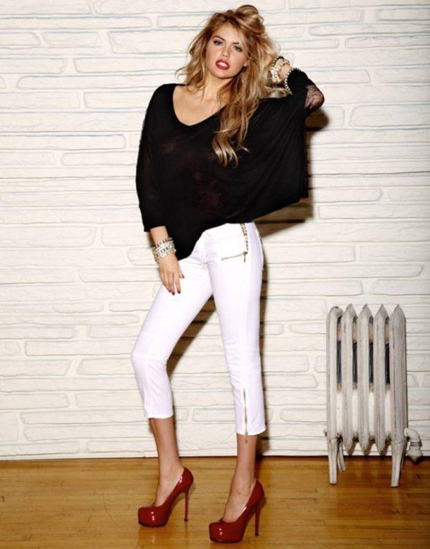 Белые брюки женские: под черную блузку свободную