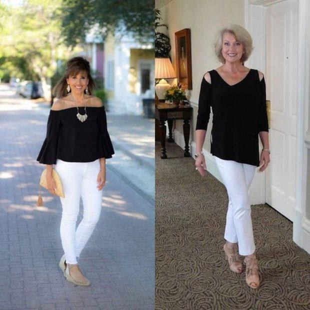 Белые брюки женские: под блузки черные