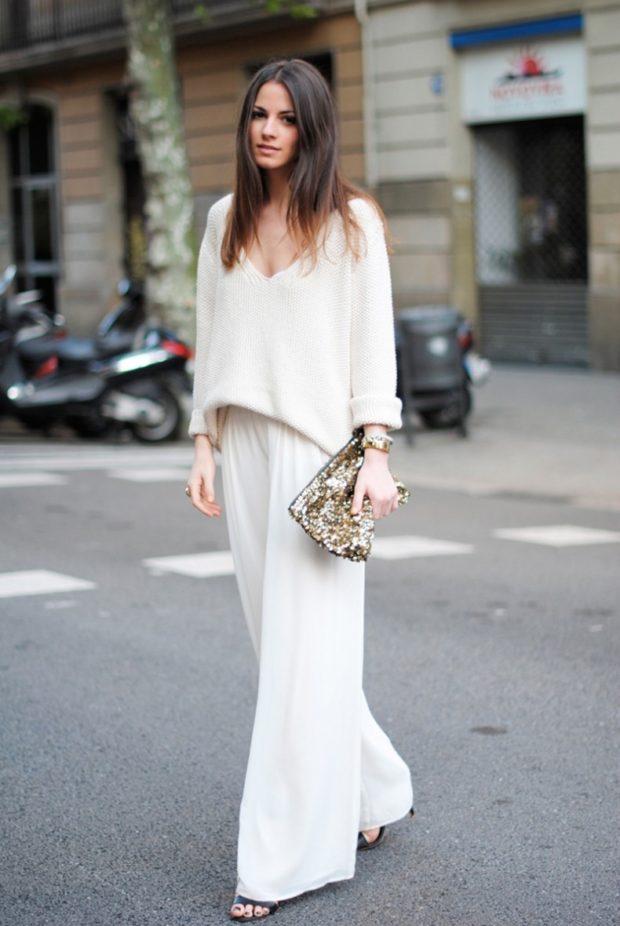 Белые брюки женские: широкие под блузку свободную