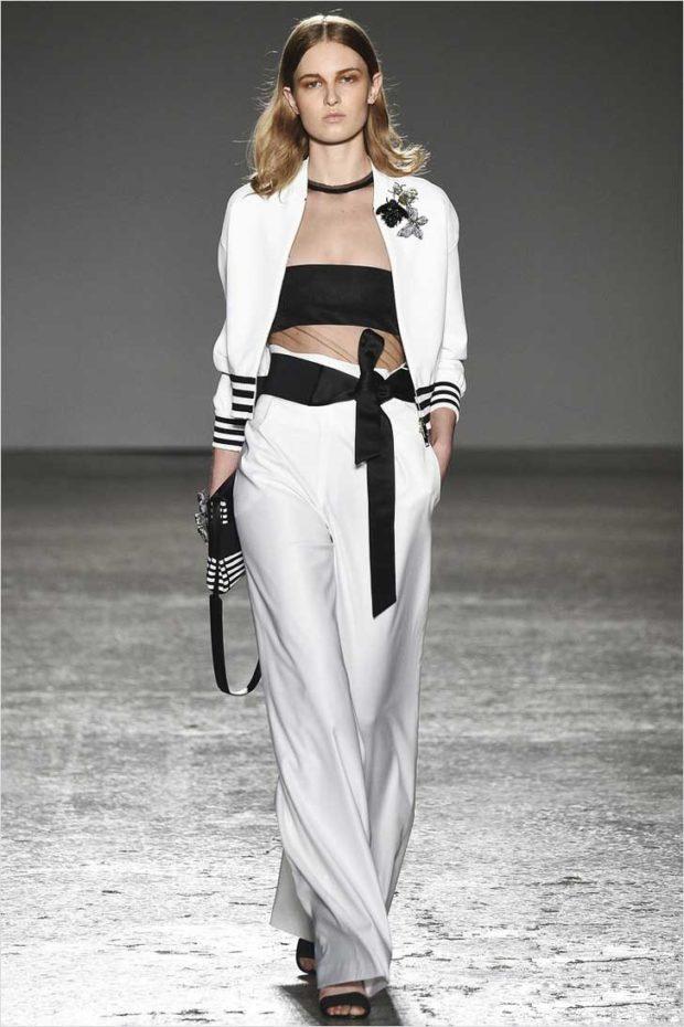 Белые брюки женские: широкие под топ черный кофту спортивную