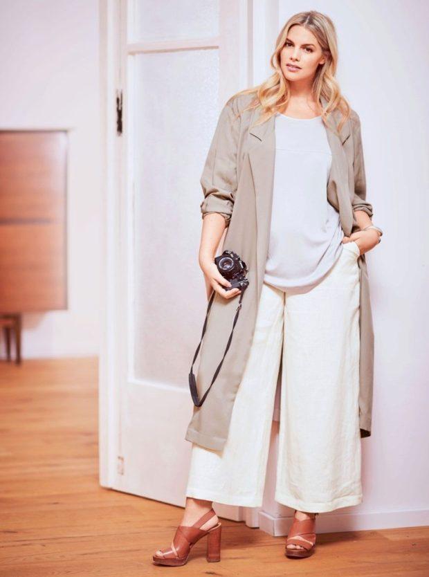 Белые брюки женские: широкие под кофту свободную под плащ