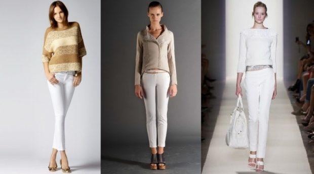 Белые брюки женские: узкие штаны под кофту кофту под жакет под блузку