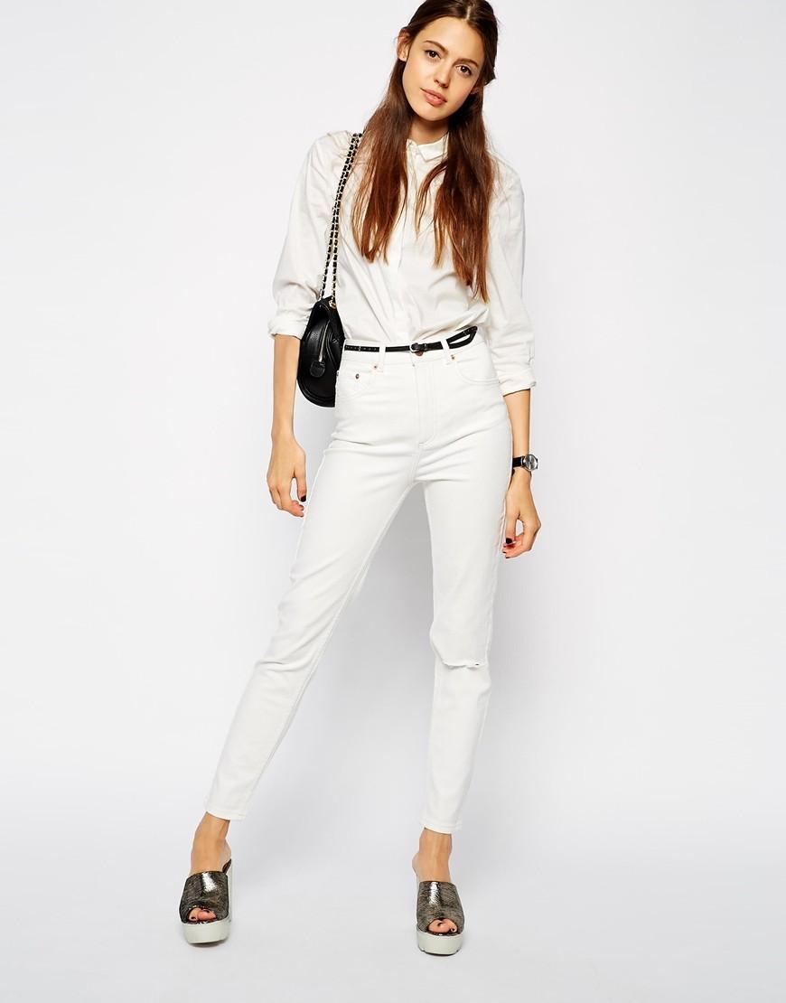 Белые брюки женские: узкие под рубашку