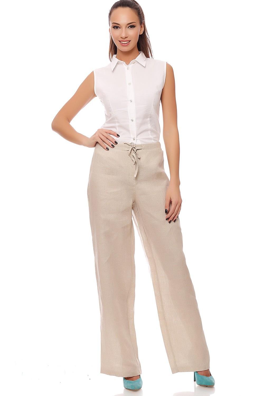 Белые брюки женские: льняные под блузку без рукава