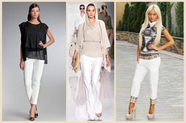 Белые брюки женские: под туфли на каблуке
