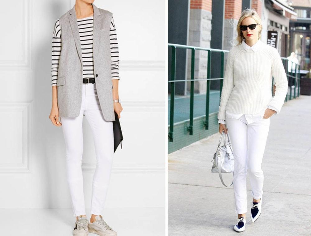 Белые штаны женские с чем носить фото