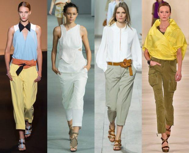 Брюки весна лето 2019: короткие желтые белые зеленые хаки