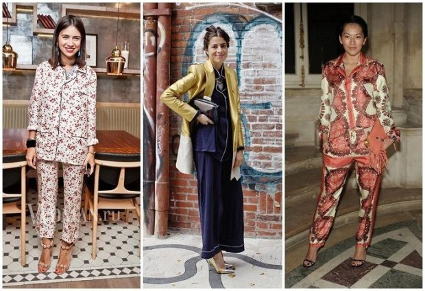Брюки весна лето 2019: пижамные в цветы синие короткие