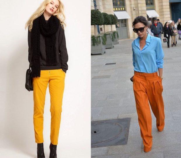 Брюки весна лето 2019: желтые кроткие оранжевые широкие