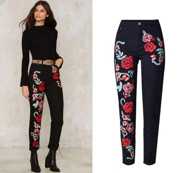 брюки весна-лето 2018: брюки темные с вышивкой яркие цветы