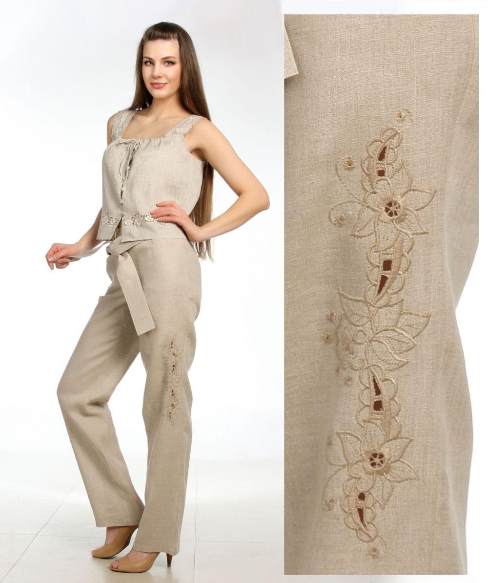 брюки весна-лето 2018: брюки льняные с вышивкой