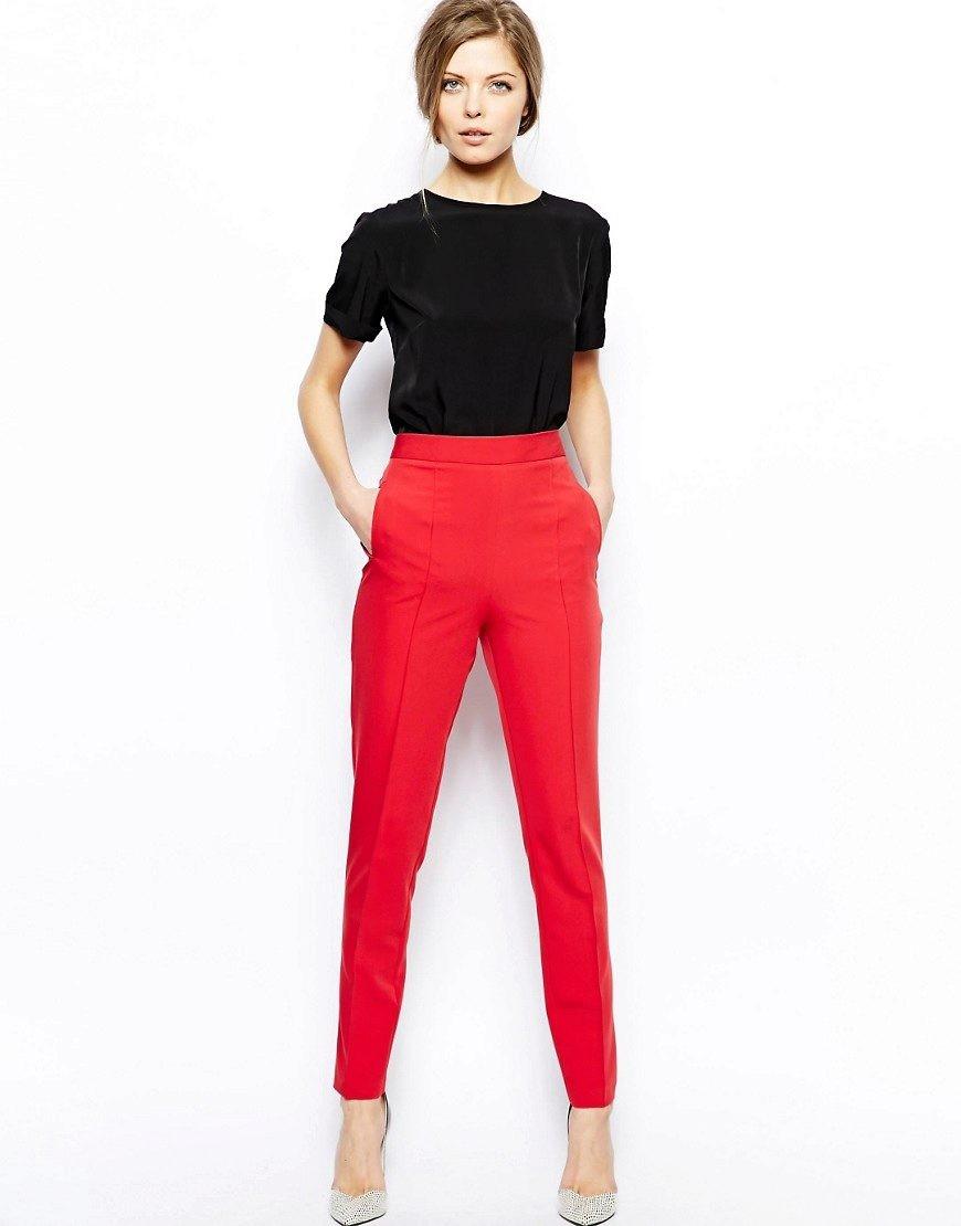 брюки весна-лето 2018: красные с высокой талией