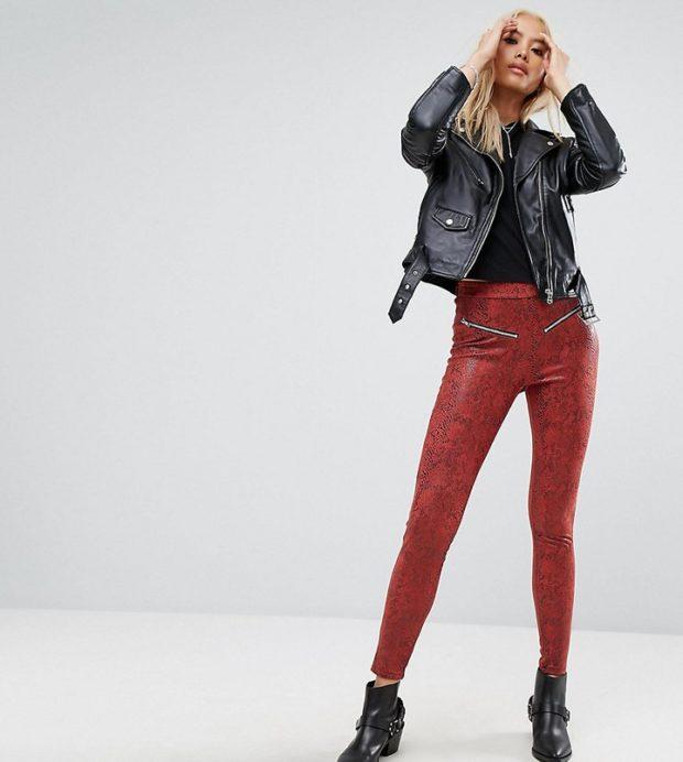 кожаные красные с рисунком