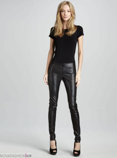 брюки весна-лето 2018: кожаные черные